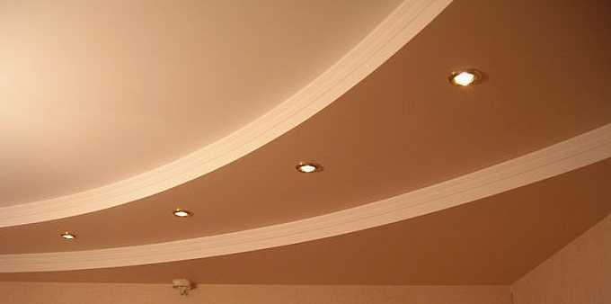 криволинейные потолки с изгибами и наличие арок из гипсокартона